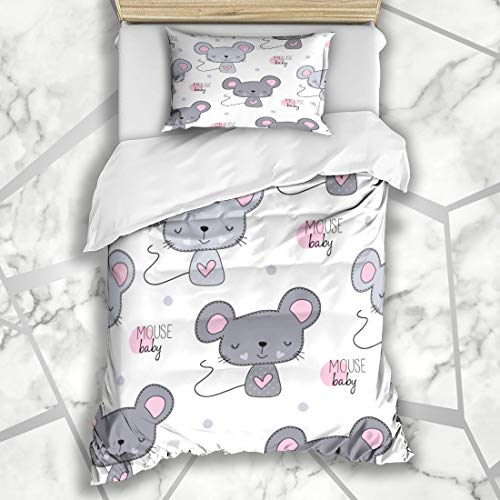 (Ahawoso Duvet Cover Sets Twin 68X86 Pretty Baby Cute Mouse Toy Pattern Small Rat Dots Adorable Microfiber Bedding with 1 Pillow Shams)