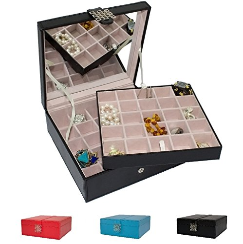 Classic-50-Section-Jewelry-Box-Organizer-Case-Holder-for-Earrings-Rings-Cufflinks-or-Collections