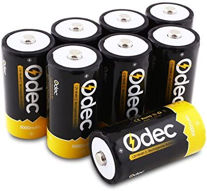 8-Pack Odec C Rechargeable Batteries Deep Cycle 5000mAh NiMH Battery Pack