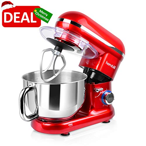 Hornbill Tilt-head Stand Mixer, Electric Mixer 600W 6-Speed 5-Quart Stainless Steel Bowl Professional Kitchen Mixer With Dough Hook, Whisk, Beater(Red) for $<!--$109.99-->