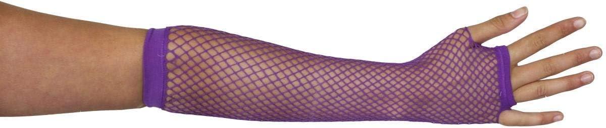 LADIES LONG FISHNET GLOVES 80S FANCY DRESS ACCESSORY FINGERLESS 1980S POPSTAR ICON NEON RAVE ROLLER DISCO 80S PURPLE