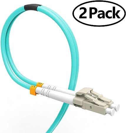 Cable Patch de Fibra 5m, VANDESAIL® 2 Paquetes 10G Gigabit Cables de Fibra Óptica con LC a LC Multimodo OM3 Dúplex 50/125 OFNP (Azul)