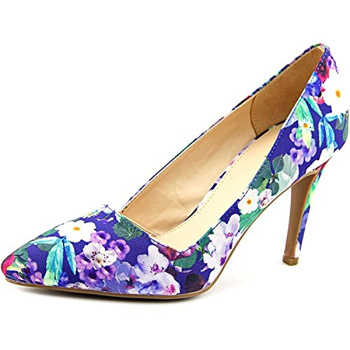 Bar III Womens Joella Pointed Toe Classic Pumps, Blue Floral, Size 10.0