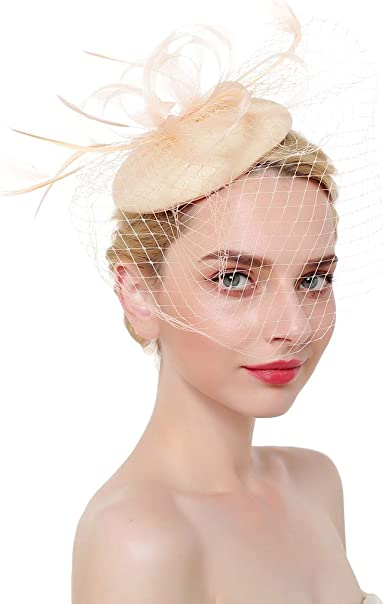 New Women Bowknot Beret Hat Veil Hair Pillbox Hair clip Party Accessories