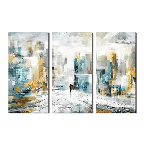 "City Wall Art Abstract Cityscape Artwork Modern Urban Skyline Painting Print on Gallery Wrapped Canvas with Gloss Varnish Ready to Hang for Living Room Bedroom Decoration 3 Pieces 36"" Wx24 H"