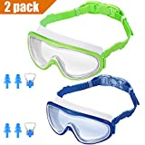 KNGUVTH Kids Swim Goggles, Pack of 2 No Leaking Swimming Goggles Anti-Fog UV Protection Crystal Clear Wide Vision Swim Glasses with Nose Clips + Ear Plugs for Children Early Teens