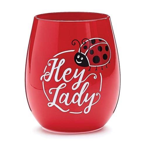 Hey Lady Ladybug Stemless Wine Glass by Burton and Burton