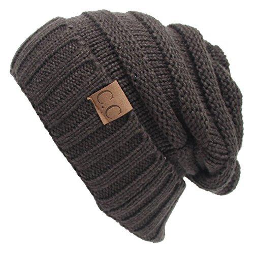 Winter Hats Women Cap Crochet Knit Thermal Slouchy Beanie Hat / Dark Grey