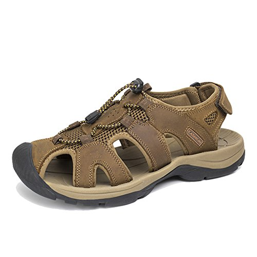Women's Toe Closed Loop AGOWOO Sandals Khaki up Hook Lace fPqTF