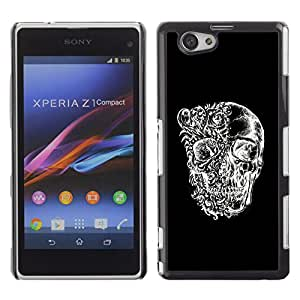 Shell-Star Art & Design plastique dur Coque de protection rigide pour Cas Case pour Sony Xperia Z1 Compact / Z1 Mini / D5503 ( Skull Black White Floral Deep Meaning )