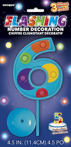 Flashing Multicolor Number 6 Cake Topper Decoration
