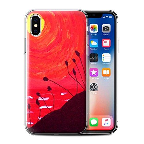 Stuff4 Gel TPU Hülle / Case für Apple iPhone X/10 / Rot Muster / Sonnenuntergang Ölgemälde Kollektion