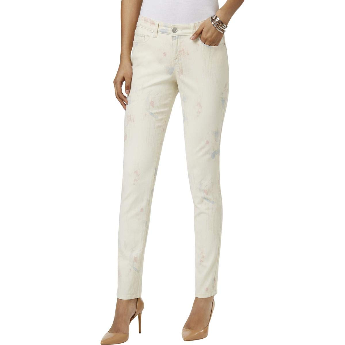 Style & Co. Womens Curvy Printed Colored Skinny Jeans Pink 16