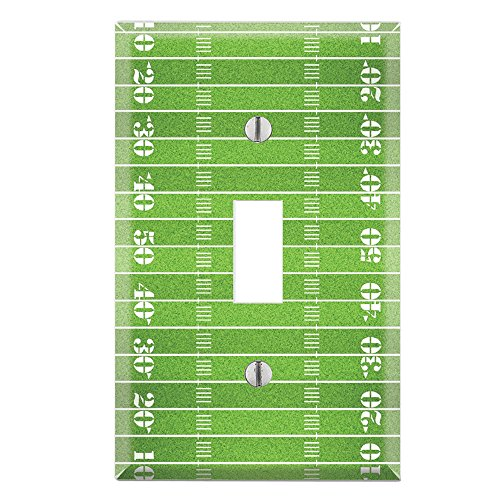Football Switchplate Cover (Single Toggle Wall Switch Cover Plate Decor Wallplate - Football Field)