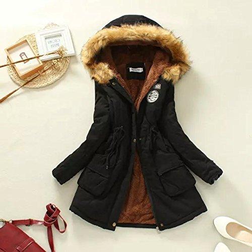 Coat Warm Hat Color Pocket sleeve Solid DYF Jacket Elastic Long Black Zipper UvZqgpx