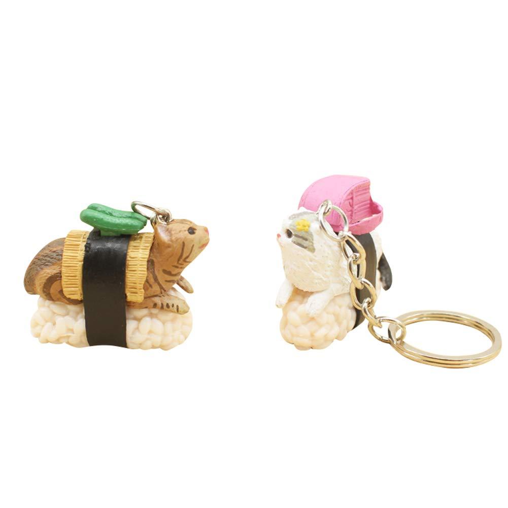 Amazon.com: Llavero con diseño de muñeca de gato Sushi con 5 ...