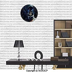 SCOCICI Hanging Round Clock PVC Astronaut Kitty Extragalactic Mission in Orbit Terestial Image Wall Clock Eco-Friendly Clock Battery Operated for Bathroom Bedroom Living Room School Ofiice 10