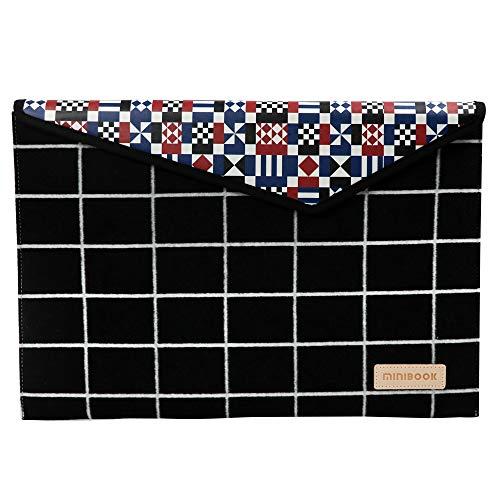 - MINIBOOK Laptop Bag Compatible 15 Inch Mac Book Pro Worsted Fabrics Laptop Bag Digital Printing Laptop Bag Fashion File Pocket(Black & Lattice Pattern)