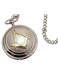 Pocket watch - Solid pewter fronted mechanical skeleton pocket watch - Two tone Masonic design 38