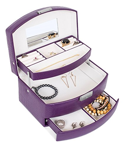 Internet's Best Faux Leather 3-Tier Jewelry Case | Slide Open Jewelry Box | Multi Compartment for Rings, Earings, Necklaces & Bracelets | Interior Mirror | Purple