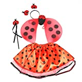 BESTOYARD Ladybug Girls Costume Set Lady Bird Wings Fairy Wand Tutu Skirt with Headband 4pcs
