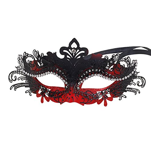Sparkly Red and Black Masquerade Wedding Masks for Pretty Princess Womens Party Evening ()