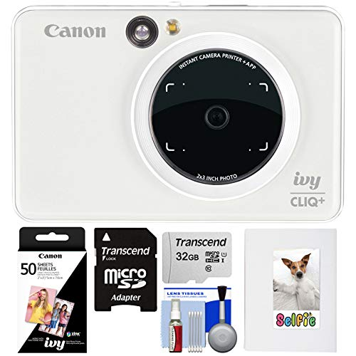 Canon Ivy Cliq+ Instant Digital Camera Printer & App via Bluetooth (Pearl White) with 32GB Card + 50 Color Prints + Photo Album + - Camera Digital Pearl