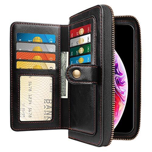 HianDier Case for iPhone Xs MAX Case Card Holder Case Lady Handbag Purse Case Women Girls Zipper Closure Protective Magnetic Detachable PU Leather Flip Wallet Case Cover for iPhone Xs MAX, Black