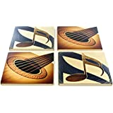 Set of 4 Wooden Coasters - Guitar and Gold Note - Music