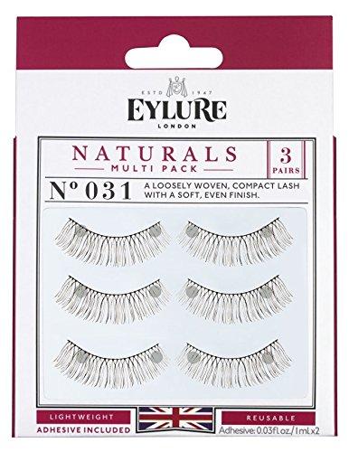 (Multi Pack- 3 Pairs) Eylure Naturals #031 False Eyelashes, Black