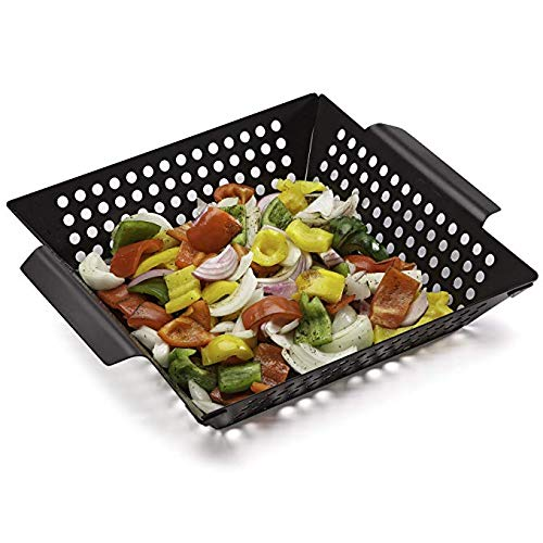 JUST N1 BBQ Grill Basket Square Enameled Grilling Basket,12 Inch Nonstick Barbecue Vegetable Fish Pan Wok Topper Organizer Accessories