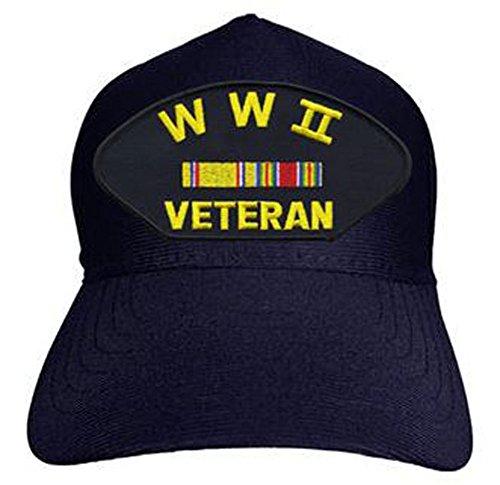 World-War-II-Veteran-with-Ribbons-Baseball-Cap-Navy-Blue-Made-in-USA