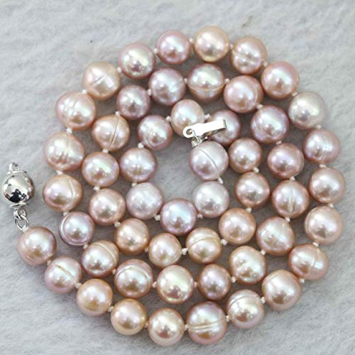 Calvas New Natural Pink Purple 7-8mm akoya Freshwater Pearl Necklace 18
