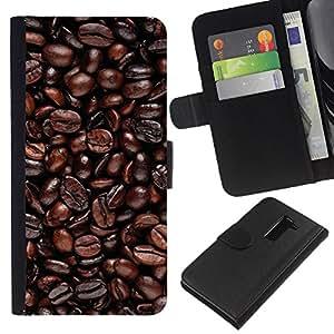 Protector de cuero de la PU de la cubierta del estilo de la carpeta del tirón BY RAYDREAMMM - LG G2 D800 - Granos de café