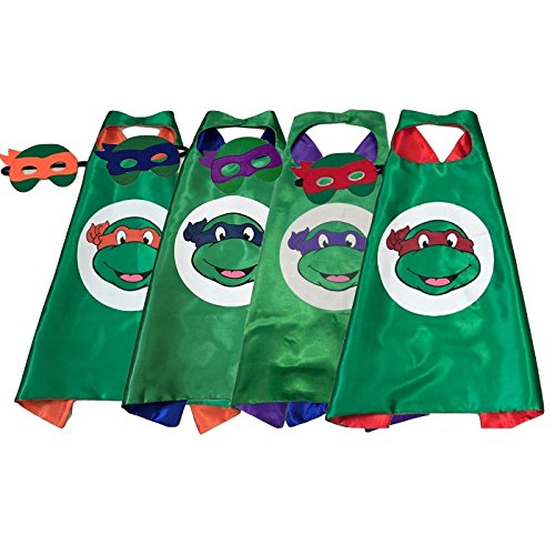 Kids Superhero Capes and Masks Costume for Ninja Turtle Birthday Party Pack of 4