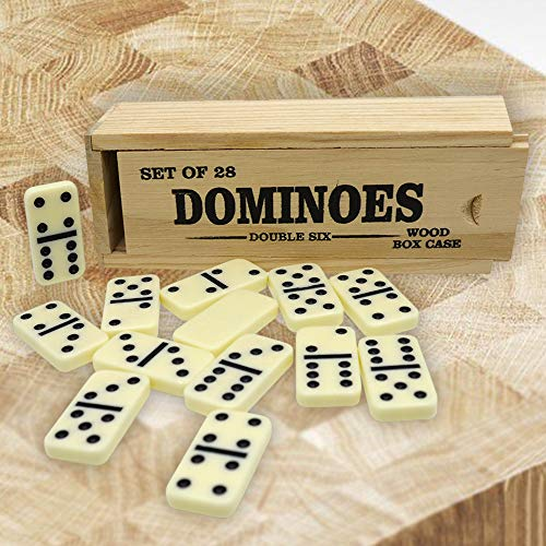 Dominos 1 Set Classic Style 28 Pieces Ivory Small Tiles Wood Box Set - Double-Six Family Games Beach Indoors Outdoors 2 - 4 Players - Piece Domino 28