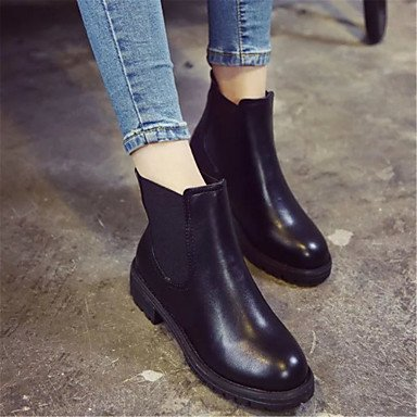 Leather Ankle Black Boots Lining 5 Outdoor Women'S 5 Boots CN35 EU36 Lace Fashion Up Winter UK3 US5 Combat Booties Shoes Casual Boots Fluff Boots RTRY For wHEF7qF