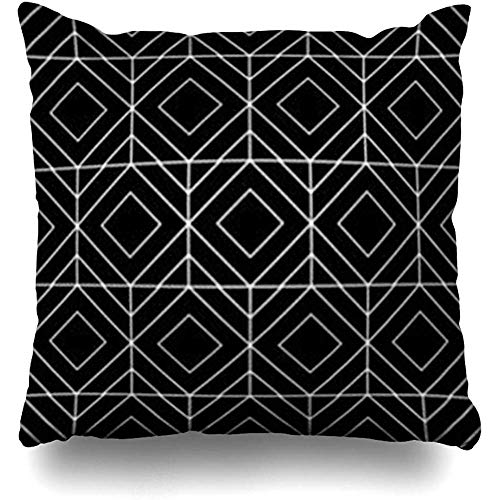 Throw Pillow Case White Modern Abstract Geometric Black Pattern Style Rhombus Lines Triangle Graphic Aztec Stripe Disco Decor Cushion Cover Home Sofa Square Size 18 x 18 Inches Pillowcases