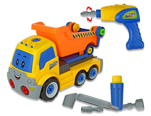 Advanced Play Constuction Toy Dump Truck Take Apart Toys for Boys and Girls With Power Toy Tools for Kids Electric Drill & Various Tools Rides On Its Own Toy Truck for Boys and Preschool Toddlers