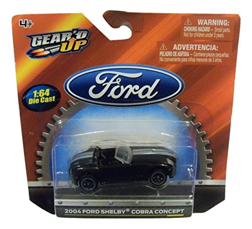 - Ford Gear'd Up Officially Licensed 1:64 Die-cast Vehicle ~ 2004 Shelby Cobra Concept (Black with Dual Silver Racing Stripes)