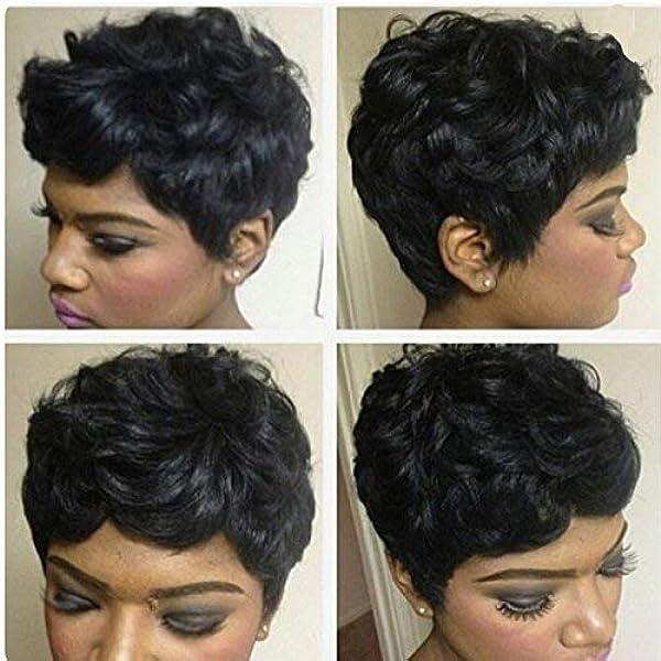 Amazon Com 1b Human Hair Short Weave Brazilian Virgin Hair Extensions Pixie Cut Wig 27 Pieces Short Hair Weave With Free Part Closure Beauty