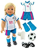 Pink & Teal Soccer Player Outfit with Uniform, Shin Guards, Socks, Soccer Ball, and Shoes | Fits 18