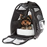"""PETMAKER Airline Compliant Pet Carrier- 15""""x 8""""x 10"""" Travel Bag for Pets with Large View Window, Removable Resting Pad and Detachable Strap by (Black)"""