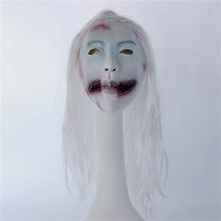 JGBHPNYX MáScara Peluca Fantasma Femenino Horror Vampiro MáScara Halloween Show Props Cara Fantasma Fantasma MáScara De LáTex: Amazon.es: Hogar