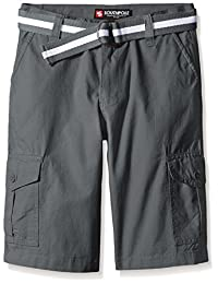 Southpole Boys' Belted Ripstop Basic Cargo Short with Washing All Season