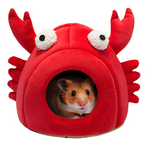 - Hollypet Warm Small Pet Animals Bed Dutch Pig Hamster Cotton Nest Hedgehog Rat Chinchilla Guinea Habitat Mini House, Red Crab