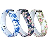i-smile® 3PCS Replacement Bands with Metal Clasps for Fitbit Flex / Wireless Activity Bracelet Sport Wristband / Fitbit Flex Bracelet Sport Arm Band (No tracker, Replacement Bands Only) & 2PCS Silicon Fastener Ring For Free (3pcs Flowers, Large)