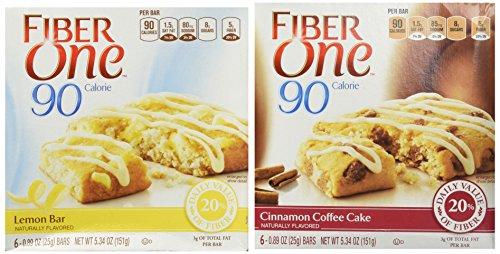 Ounce 4 Cartons (Fiber One 90 Calorie Variety Pack Cinnamon Coffe Cake & Lemon Bar 2-5.34oz Cartons)