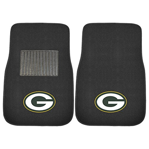 FANMATS 10744 NFL Green Bay Packers 2-Piece Embroidered Car Mat
