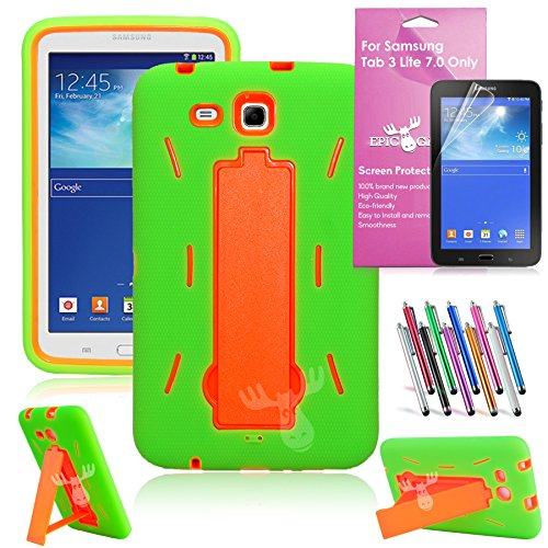 EpicGadget(TM) For Samsung Tablet Galaxy Tab 3 Lite 7.0 Case Green and Green Shockproof Heavy Duty Rugged Impact Hybrid Case with Build In i Kickstand Protective Cover [Dose NOT Fit Galaxy Tab 3 7.0] With Galaxy Tab 3 Lite SM-T111 SM-T110 Clear Screen Protector And Universal Long Touch Stylus Pen (US Seller!!) (I Stand Green Orange) - Universal 7 Inch Tablet Hard Case
